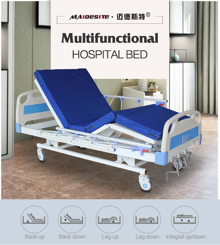 M08 Adjustable Three Functions Hospital Bed For Elderly , Sale To
