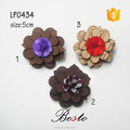 High quality fabric flower center wooden flower brooch lapel pins for suits/dress/garments