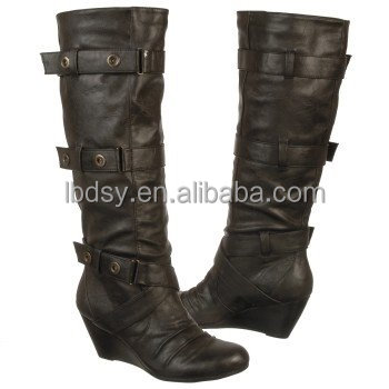 City trends popular quality black high heel boots tube