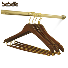Wooden Suit Hangers with Locking Pant Bar, Walnut Brass/Finish, Box of 25