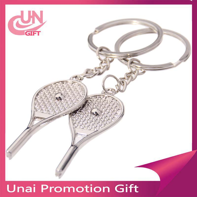 China wholesale Metal key chains cute Tennis racket key chains
