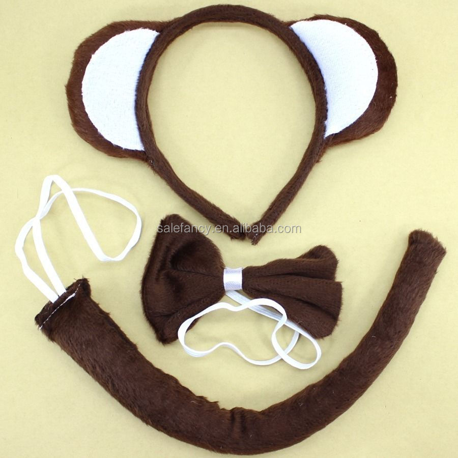 Ears Headband Hair Pin Monkey 3pcs Set Headband Tie Tail party animal headband QHBD-8387