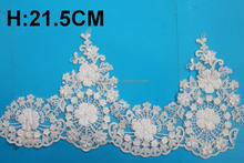 good quality embroidery designs flower sequins lace trim saree border with low price