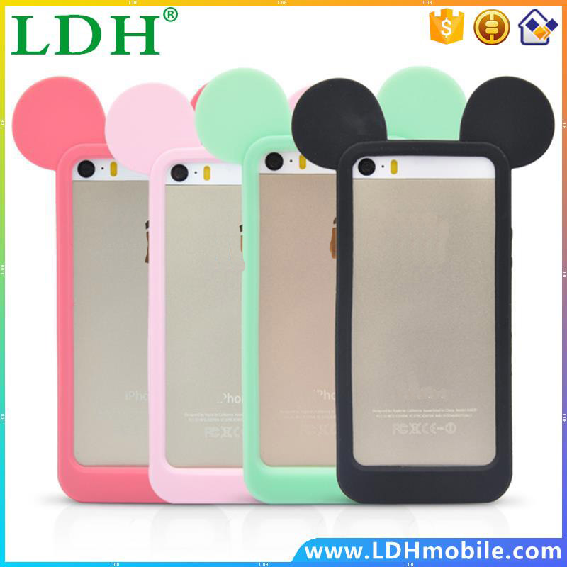 Free New 3D lovely Four colors mouse ears cartoon model Fashion silicon frame bumper for iPhone 5 5S 5G cover cases --- PC0275