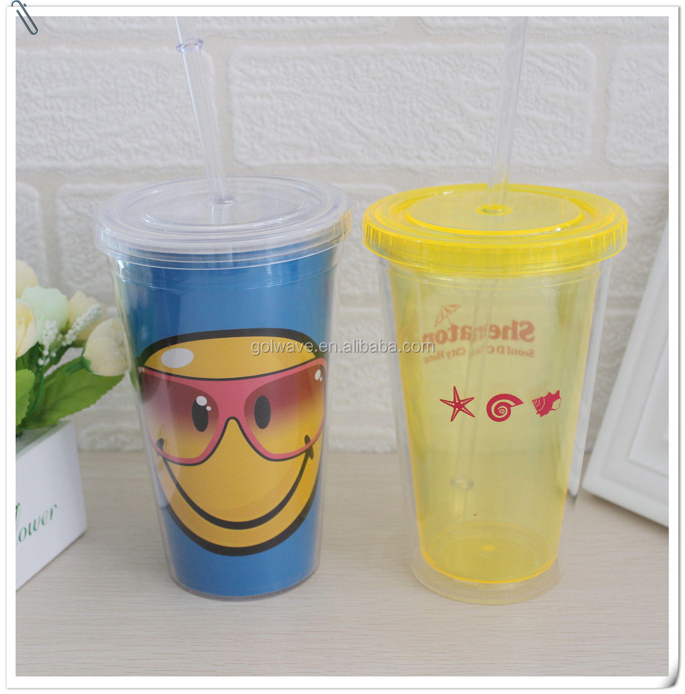 18oz Food grade insulated plastic cup with straw plastic single wall tumbler with staw and flat lid