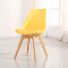 Low price wood leg living room plastic chair