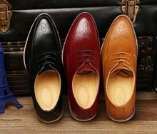 New Designer Classic Men Dress Shoes Genuine Leather Black Brown Coffe Carved Formal Oxfords shoes