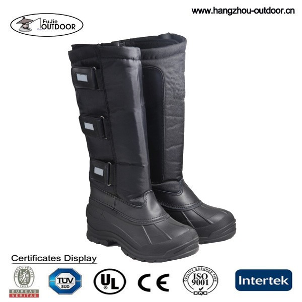 Ladies Reflective Snow Riding Boots, Roman Style Winter Boots, Womens Fashion Black Snow Boots