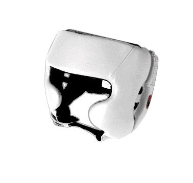 Boxing Head Guards Cowhide leather White color Cheek protection Custom printing Buyer Logo and accept Paypal