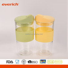300ml double wall coffee glass cup drinking with glass lid
