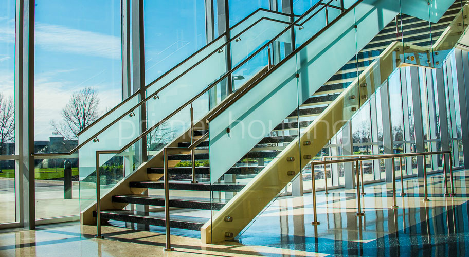 Indoor glass stair railing cost