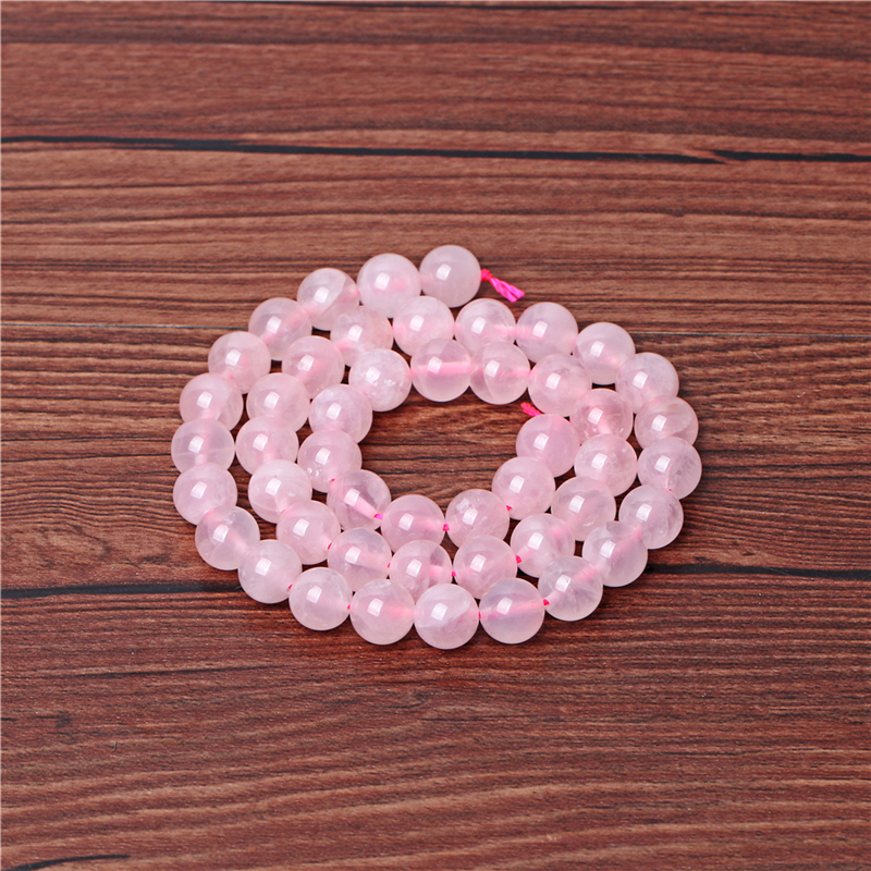 Round shape Madagascar rose quartz crystal bisuteria natural loose gemstone stone beads for bracelets and necklace