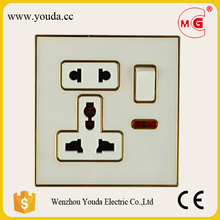 High Quality British Standard 13A 1 gang switched multi 5 pin wall power socket