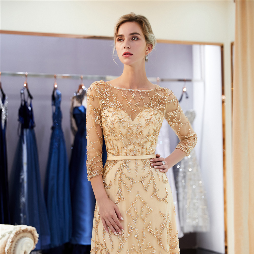 Alibaba  See Through gold sequin Lace 3/4 sleeve prom gowns  applique beaded  Mermaid Evening Dresses 2018