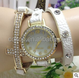 Hot Wristwatch Crystal Leather Strap Round Dial Retro Women Cross Wrist Watches Candy Colors