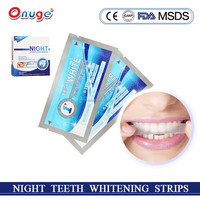 Easy white home teeth whitening strips, teeth whitening dry strips for night use