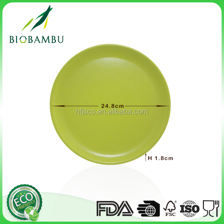 Manufacturer Supply diswasher safe compostable plate in bamboo fiber and corn powders