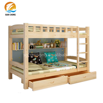 Girls boys solid wood bunk beds with shelf and drawer