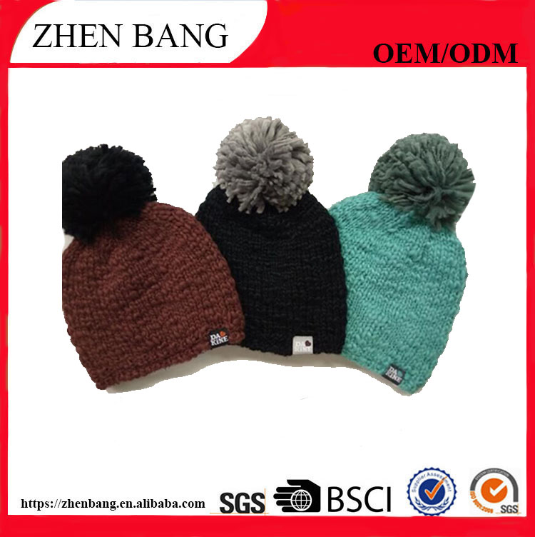 2017 new style knitted beanie winter hat with custom logo