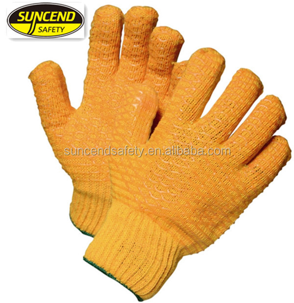 knitted glove with fish scale PVC on palm and back PVC net gloves