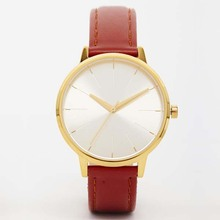 2017 Christmas gift gold alloy leather quartz watch with low price
