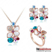 Czech Crystal Enamel Flower Fashion Costume Women Jewelry Sets Necklace Earring and Ring Sets Wholesale ST0015-A