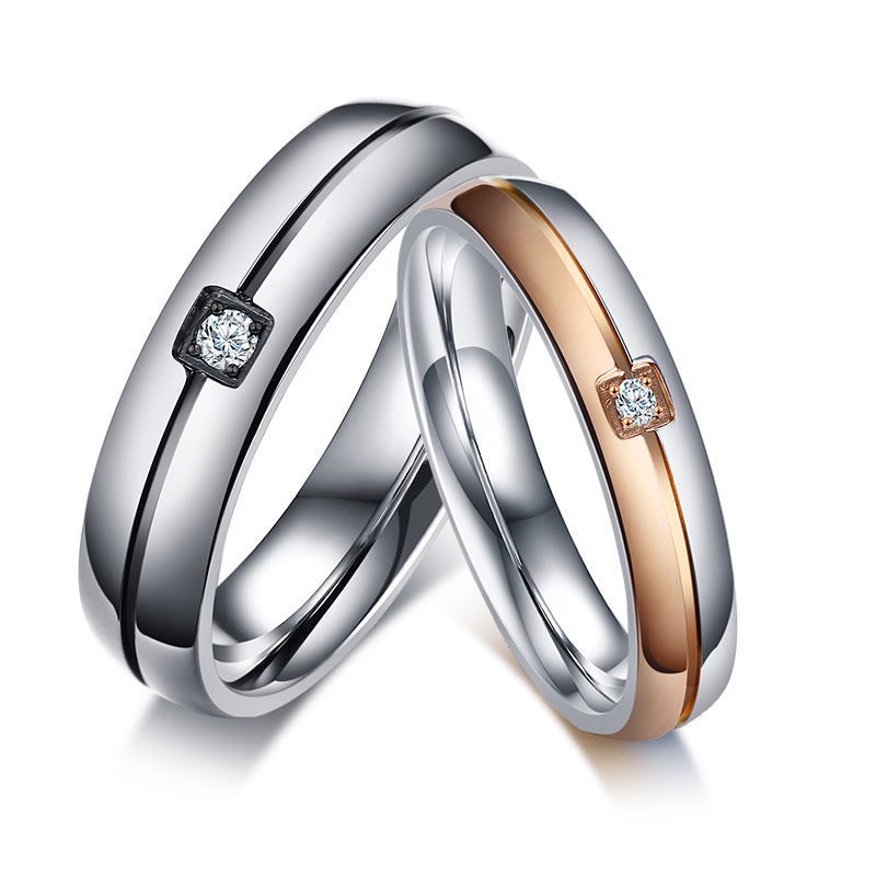 Couple stainless steel ring ,diamond rose gold and silver ring jewelry