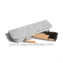 2017 Newest soft black and grey literary felt pencil case for adults