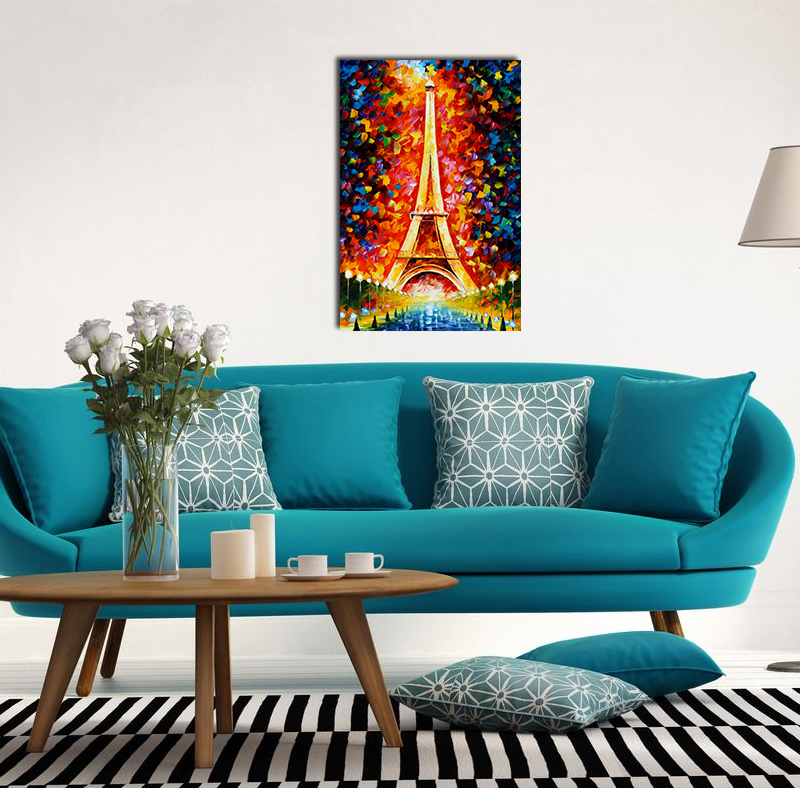 GUVIVI Painting <strong>picture</strong> 35*55cm oil Painting supplies eiffel tower colorful Wall painting