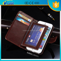 Multi funtion business design card slot detachable magnet wallet leather case for iphone 4