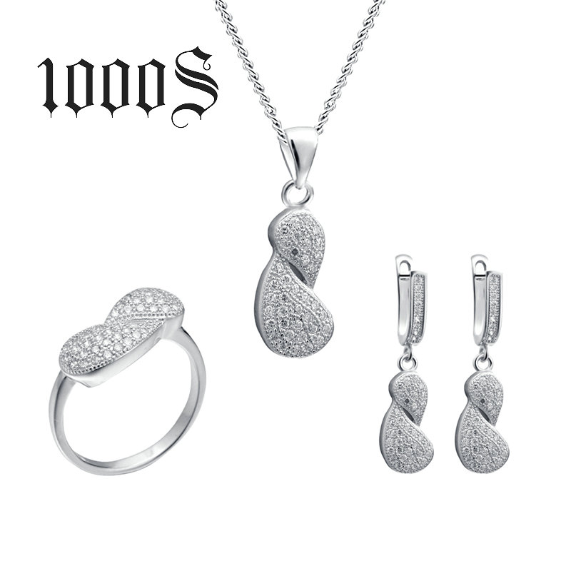 Trendy Wedding Fashion Jewelry, 925 Sterling Silver Bridal Micro Pave Jewelry Sets