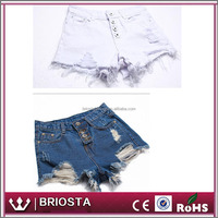 Wholoesale Fashion High Waisted Ripped Denim Shorts