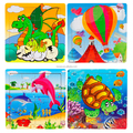 Colorful Wood Jigsaw Brain Teasers Toy Educational Gift Toys For Kids
