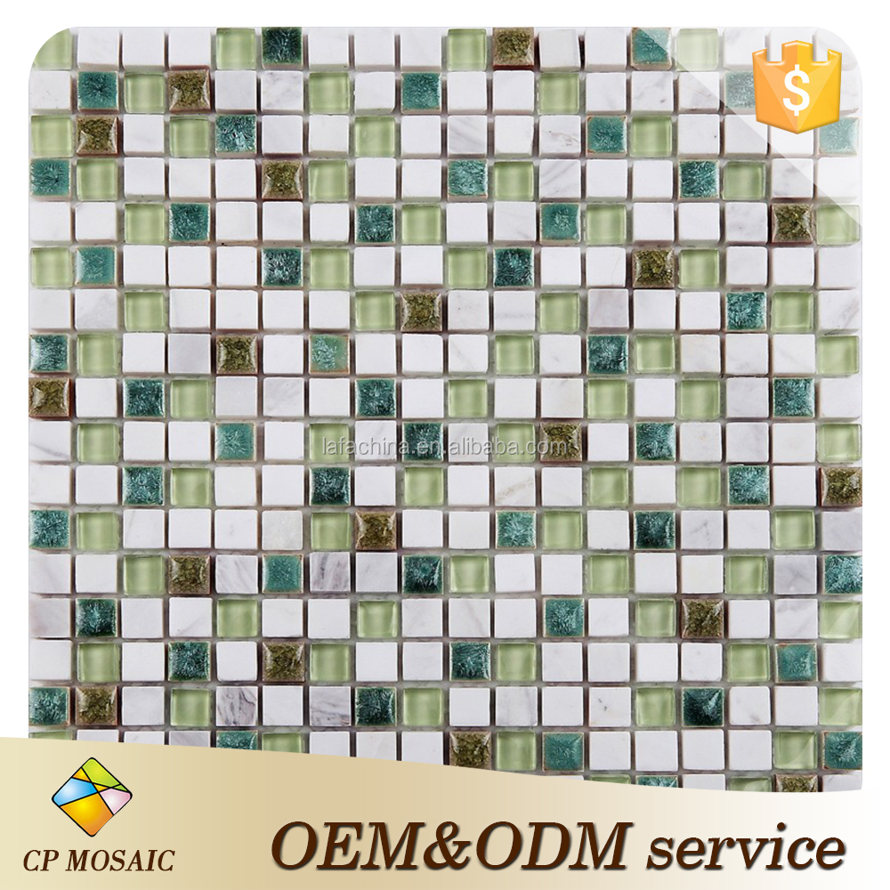 Ceramic mosaic glass mix stone,Green ceramic crystal glass mixed stone mosaic tile for bathroom wall,kitchen backsplash