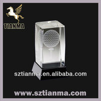Customized 3d picture crystal golf trophy