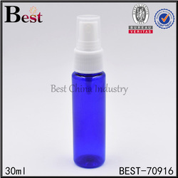 30ml 100ml round blue clear plastic empty perfume spray bottle hot sale