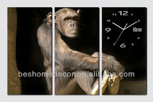 Mono diseño lovely animals enmarcado set <span class=keywords><strong>de</strong></span> 3 canvas wall clock