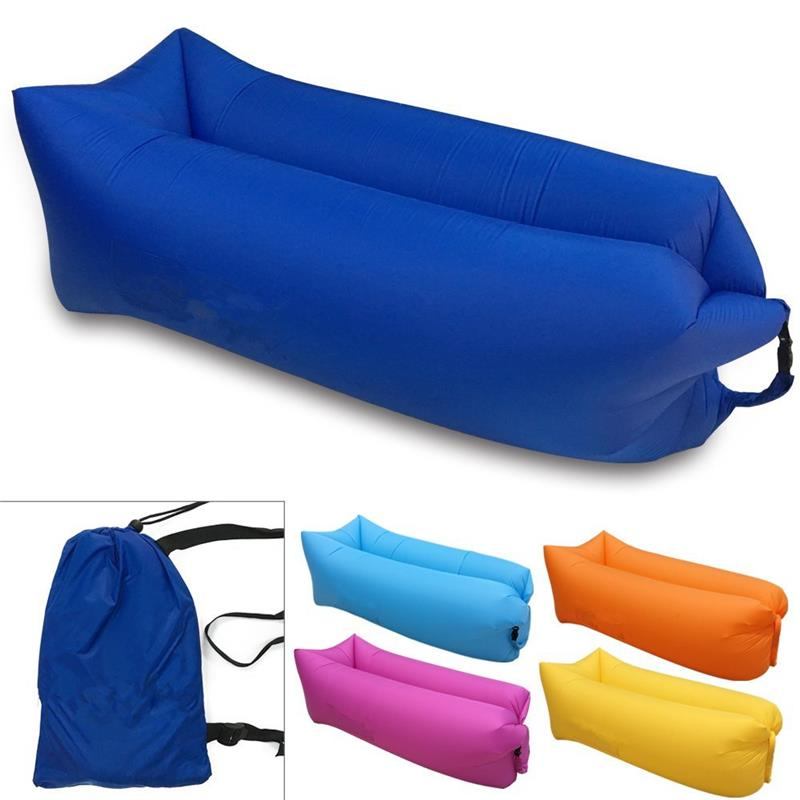 Wholesale beach air inflatable sofa - banana sleeping air bag - with fashion design for outdoor leisure lay bag