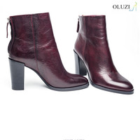 OlzB17 Simply Block Heel Brown Genuine Leather Winter Ankle Boots For Women