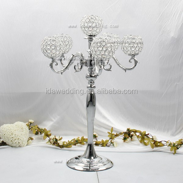 Handmade crystal ball center piece led light/table top chandelier centerpieces for weddings and event decoration