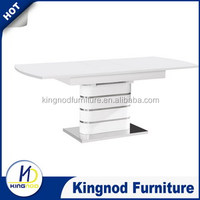 Alibaba best price retractable MDF wood white dining table