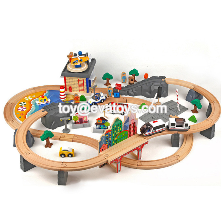 New hottest educational 39 pcs pink wooden train railway toy for kids W04C076