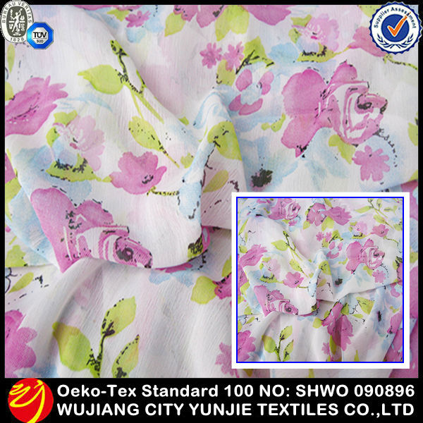 100% polyester wholesale printing chiffon summer dress <strong>fabric</strong>
