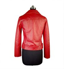 Fashion contemporary women red leather motorcycle jacket/leather clothing jacket