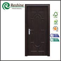 Hdf melamine faced wood black interior door