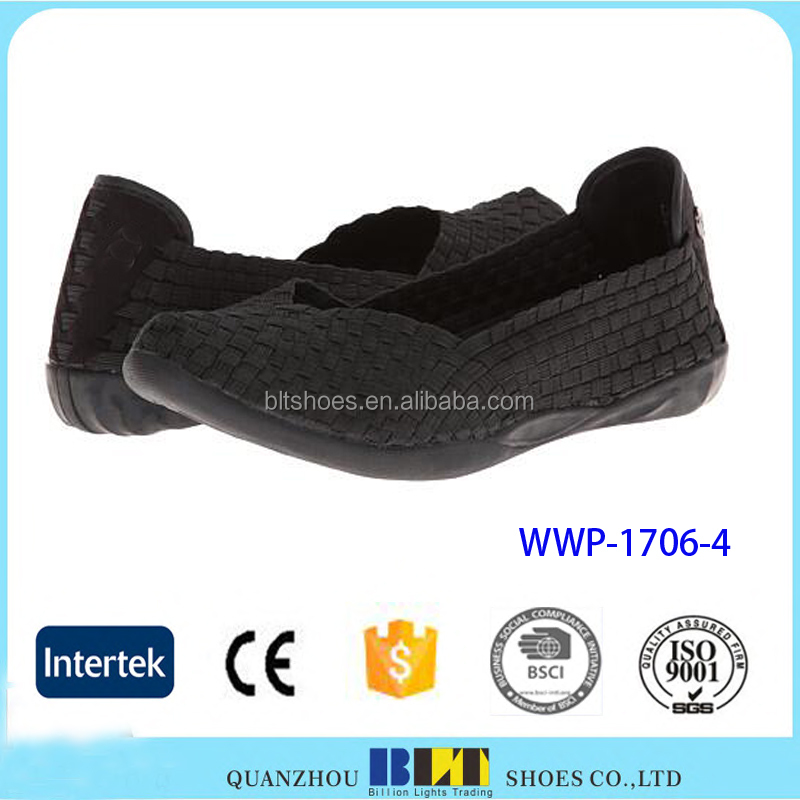 High Quality 2017 Footwear Elastic Materail Woven Woman Shoe