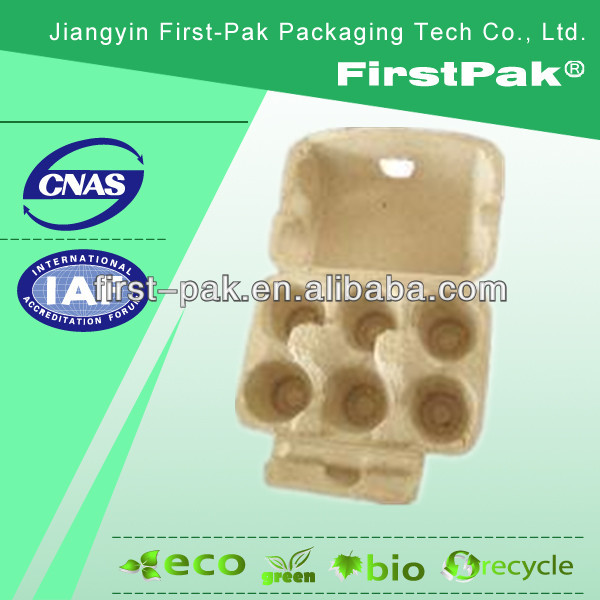 waste news paper pulp moulded fiber 6 cell Egg box 6 cavity Shockproof Egg carton
