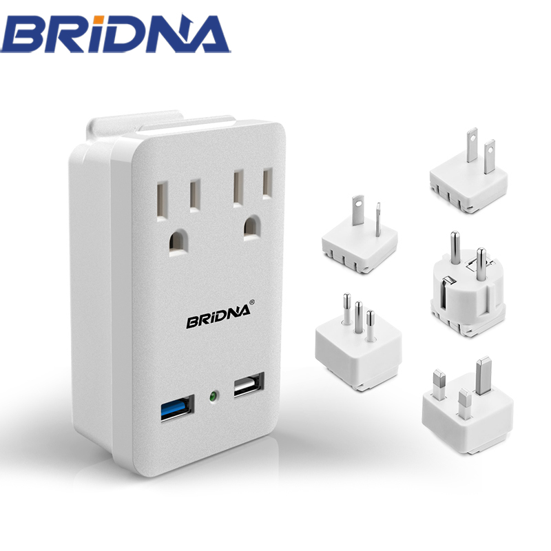 2018 New Item CE International Universal Travel Adaptor With Dual Usb AU / UK / US / EU <strong>Plug</strong>
