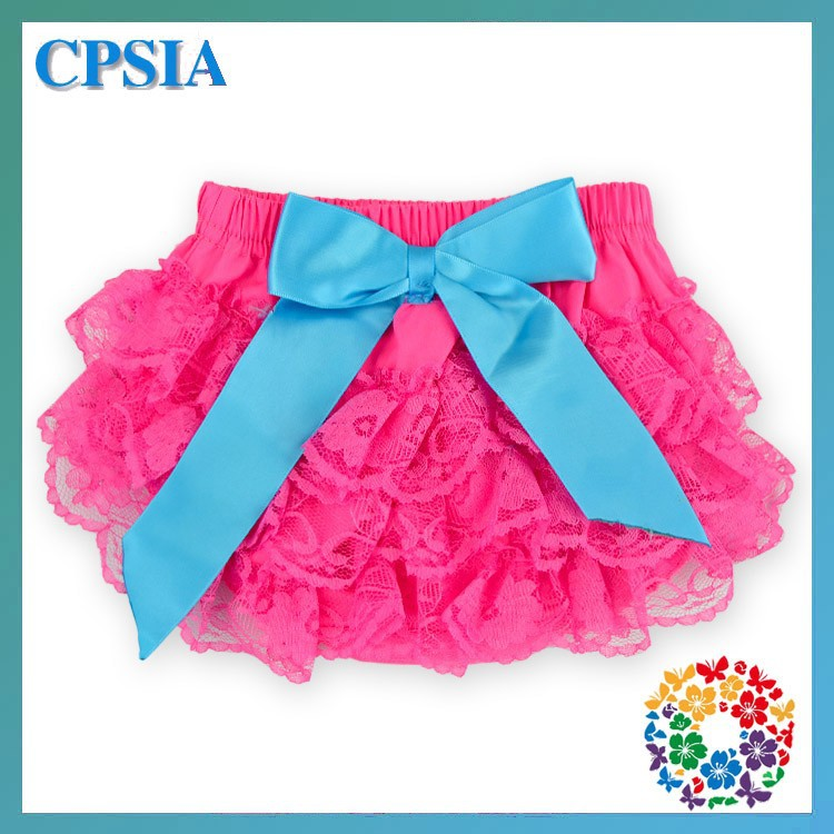 Cute Baby Hot Pink Lace Ruffle Diaper Cover Ruffle Baby Bloomer