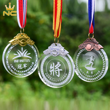 Wholesale Personalized Glass Award Gold K9 Crystal Medals For Sports Souvenirs Gifts
